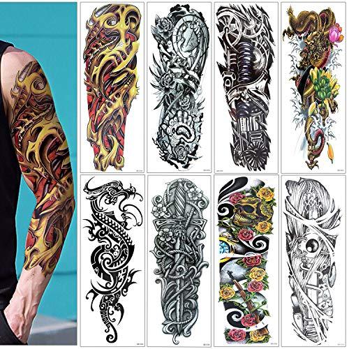 Grande tatuaggi temporanei, 8pcs mooklin non tossico impermeabile finti sticker per adulti uomo donna bambini