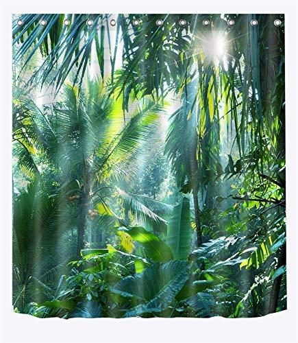 LB Dschungel Wald Duschvorhang mit Haken, 180x200cm Tropische Pflanze Grün Banane Blätter Bad Vorhang Home Decor, wasserdicht Anti-Mehltau waschbar Polyester Stoff Vorhänge (Stoff Dusche Vorhänge)