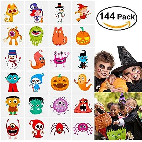 Halloween Kinder Tattoos Monster Vampir Spinne Geist Kürbis Hexe Tattoos fur Kinder 144 Stück (Bestes Halloween-kostüme Für Kleinkinder)