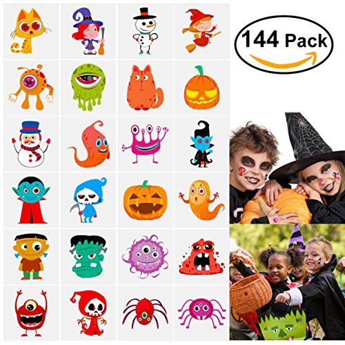 Halloween Kinder Tattoos Monster Vampir Spinne Geist Kürbis Hexe Tattoos fur Kinder 144 Stück (Vampir Hexe Kostüm Make Up)