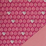 by Graziela Stoff Softshell Blätter pink Erika | 50cm x