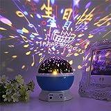 FONKIC Baby Nachtlicht Mond Sterne Projektor Schreibtischlampe USB Rechargable Kreatives Geschenk,Blue-Birthday