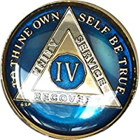 Bright Star Press 4 Year AA Alcoholics Anonymous Gold & Nickel Tri-Plated Medallion Chip with Serenity Prayer by Bright Star Press