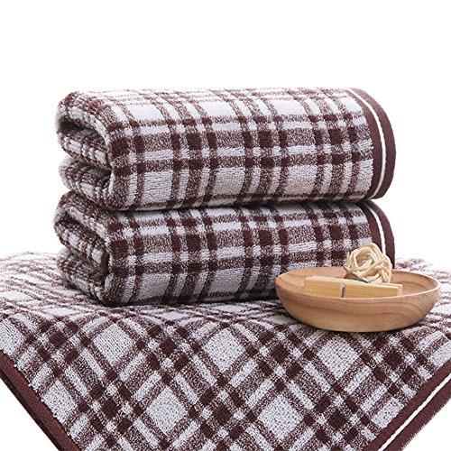 pidada 100% Baumwolle Handtücher Set von 2Plaid Muster Soft sehr saugstark Luxus vielfachen Gebrauch für Bad, Hand, Gesicht, Fitnessraum und Spa 35,6x 73,7cm, baumwolle, 2 Brown, 14 x 29 -