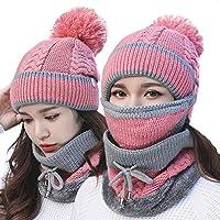 China Show Mujer Mode Gris Rayas Invierno Gorro Gorro para Forro Polar Juego Color Rosa (Sombrero + Máscara + Bufanda)
