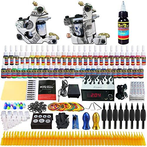 WENHU Entworfene komplette Tattoomaschinen-Kits 2 Rotary Tattoo Guns Machine 54 Tintensätze 8 Handgriffe -