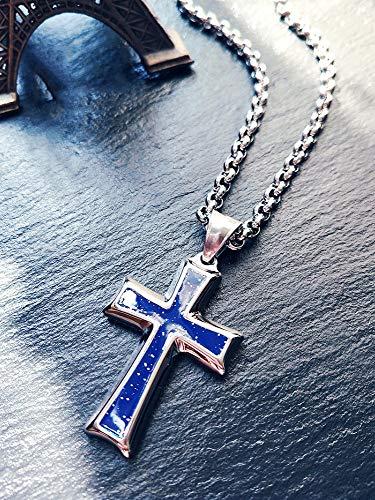 Jhtadva Einfache Persönlichkeit Christian Cross Design Männer und Frauen Mode Trend Halskette Anhänger, blau