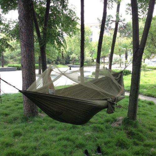 Hängematte,SKL portable haute résistance parachute Hamac avec Moustiquaire en tissu pour camping voyage Vert militaire