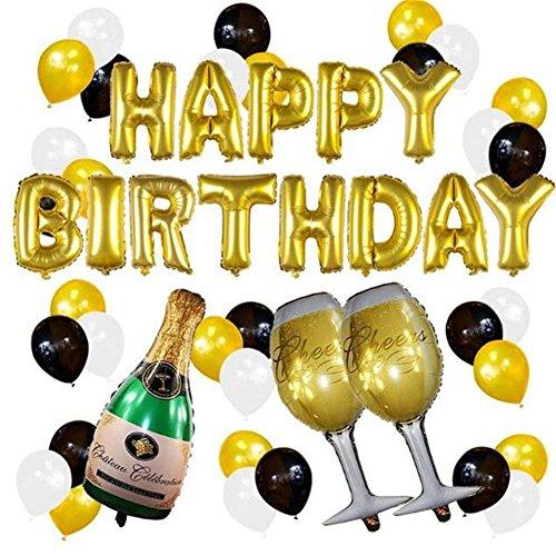 37pcs Alles Gute Zum Geburtstag Party Ballons Set,16 Zoll Gold Schwarz Geburtstag Party Dekoration Ballon,Champagner Flasche Becher Aluminium Helium Folie Ballons,Latex Ballons aufblasbare Luft Bälle