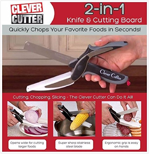 zooarts Food Chopper 2-in-1 Messer und Schneidebrett Küche Schere Cutter-Gemüse Obst schneiden Messer - As Küche Messer Seen Tv On