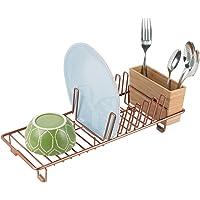mDesign étendoir à vaisselle en métal – égouttoir à vaisselle pour le plan de travail ou pour l'évier – avec range…