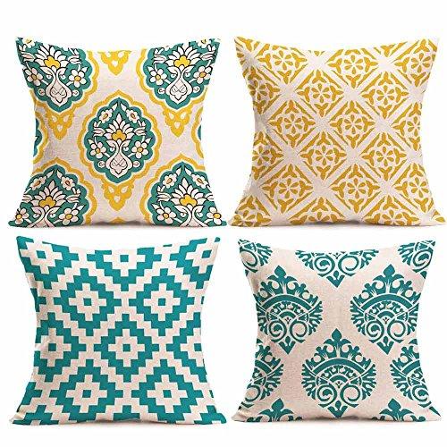DEELIN 4PC Tricoté Taies d'oreiller Motifs Géométriques Florales Lin Housse de Coussin Canapé Décor à La Maison Amovible et Lavabl