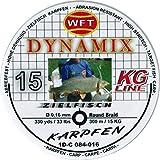 WFT Round Dynamix Karpfen black, 300m geflochtene Schnur zum Karpfenangeln, Angelschnur, Karpfenschnur, Durchmesser/Tragkraft:0.16mm / 15kg Tragkraft