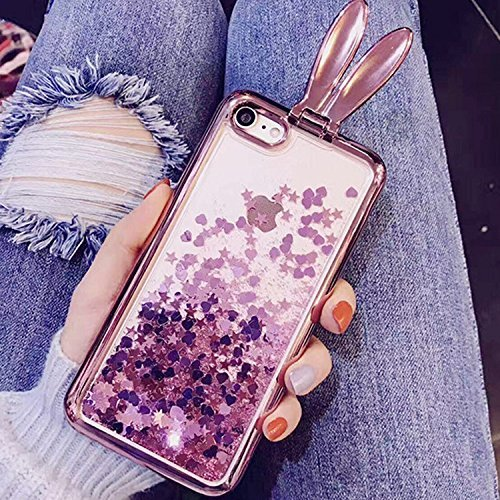 Sunroyal® Coque iPhone SE 5S 5 Transparent Beau Fairy Fée Bling Diamant TPU Soft Crystal Clear Etui Housse Premium Ultra Mince Strass Case Cover de Protection Bumper pour Apple iPhone SE/iPhone 5 5s - Rose Oreilles
