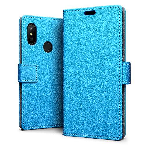 SLEO Xiaomi Mi A2 Lite/Xiaomi Redmi 6 Pro Hülle, PU Leder Case Tasche Schutzhülle Flip Case Wallet im Bookstyle für Xiaomi Mi A2 Lite/Xiaomi Redmi 6 Pro Cover - Blau