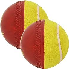 omtex Cricket Ball - Swing Ball (Half Tennis) Cricket Training Ball (Pack of 2) Size 5.5. Diameter 2.5 cms