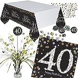 Neu: 4 Pièces Kit de Décoration de Table Sparkling Celebration pour Anniversaire 40 Ans avec Nappe + Confettis + Serviettes de Table