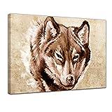 Keilrahmenbild Wolf, Tattoo Art - 120x90 cm - Bilder als Leinwanddruck - Wandbild von Bilderdepot24 - Urban & Graphic - Tiere - Zeichnung eines Wolfskopfes