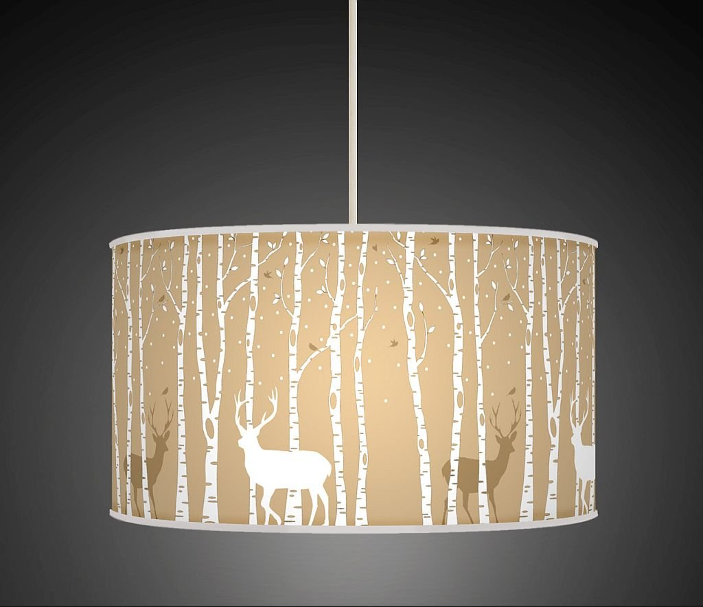 Stag deer trees handmade lampshade printed fabric pendant light stag deer trees handmade lampshade printed fabric pendant light beige colour 860 amazon kitchen home aloadofball Choice Image