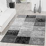 Alfombra de diseño moderno, color gris y negro., 160 x 220 cm
