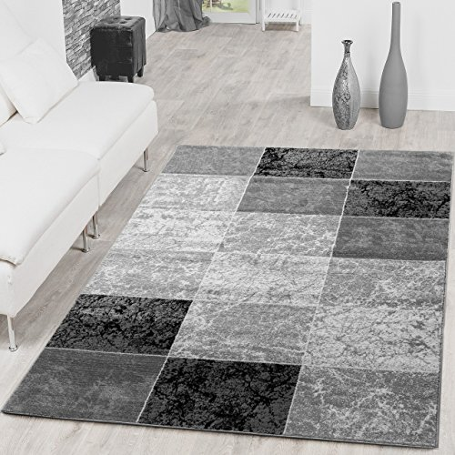 Alfombra de diseño moderno, color gris y negro., 120 x 170 cm