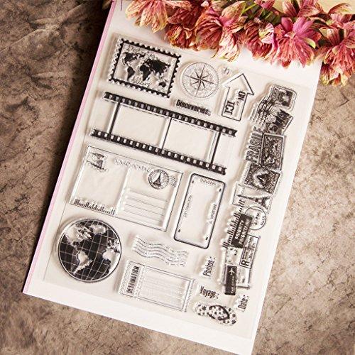 ECMQS Globe DIY Transparente Briefmarke, Silikon Stempel Set, Clear Stamps, Schneiden Schablonen, Bastelei Scrapbooking-Werkzeug