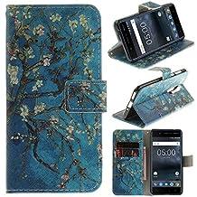 Cover Nokia 5, CLM-Tech sintetica pelle Custodia per Nokia 5 Flip Case Albero Ramo Fiori [funzione supporto] [slot per schede] [chiusura magnetica] Nokia 5 portafoglio
