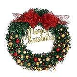Upxiang Frohe Weihnachten Kranz 40 cm Fenster Tür Dekorationen Gold Pulver Ball Home Ornament