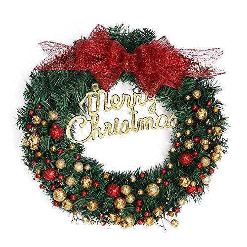 Prevently 40cm Weihnachtskranz für tür deko außen,Gold Weihnachtskugeln Kranz Girlande Dekoration Weihnachtsdeko Türkranz Weihnachtskranz mit Weihnachtskugel