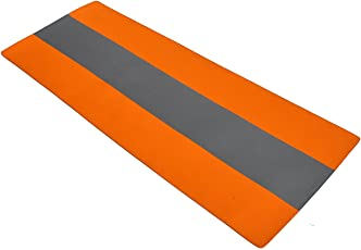 AEROLITE Premium Striped Yoga/Fitness Mat (12mm, Orange, Grey)