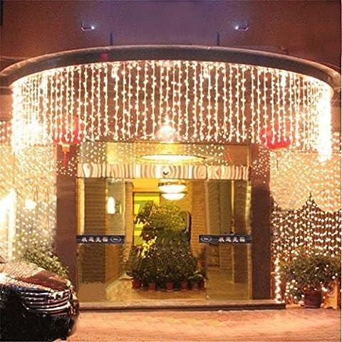8 Modes 10m x 1m avec 448 leds Guirlande lumineuse LED feux clignotants de chaîne filet féerique éclairage Décoration lumières de rideau pour festival Noël mariage bar nouvel an et décoratif (Blanc Chaud) - Partito accessori