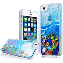 WE LOVE CASE iPhone SE / 5 / 5S Cover Transparente Cristallo Chiaro Quicksand Glitter Liquid Liquido Sabbie Mobili Sparkle Luminous Luminoso Nottilucenti iPhone SE 5 5S Custodia Cassa Duro del PC di Plastica Protettiva Protezione Shock Proof Bumper Coperture Posteriori Anti Graffio Caso Shell Backcover per Apple iPhone SE / 5 / 5S Smartphone , Blu Disegno