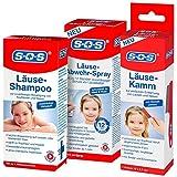 SOS Läusealarm-Set mit Läuseshampoo, Läusekamm und Läuse-Abwehr-Spray | Läuseset | Läusemittel...