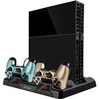 Zacro Supporto Vertical per PS4 Pro/PS4 Slim/PS4, 2 Ventole 2 Stazioni di Ricarica Controller, 16 Slot per Disco di Gioco + 4 Porta USB
