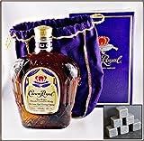 Crown Royal Canadian Whisky mit 6 Original Kühlsteinen von Rosenstein & Söhne im Stoffbeutel, kostenloser Versand