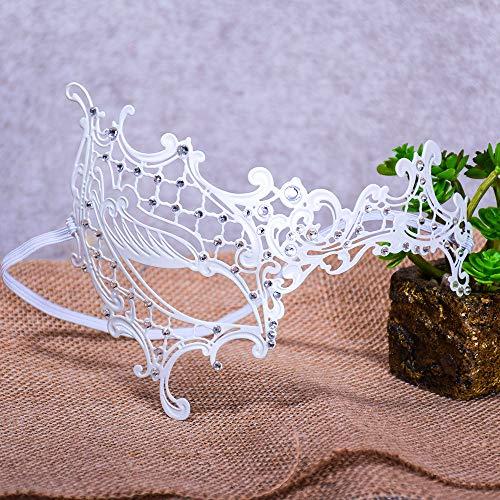Máscara Venecia de filigrana con Slim metal y Diamante,Halloween Sexy Máscara de encaje para fiesta de disfraces, bodas, Mardi Gras, Carnaval y danza venecianas,Blanco