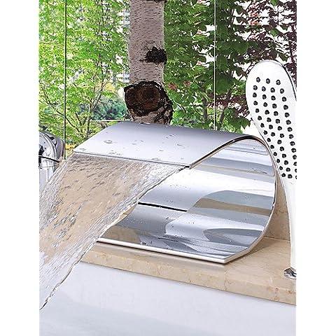 KISSRAIN® Vasca da bagno rubinetto - Contemporanea - Cascata - Ottone (Chrome)