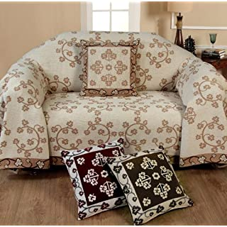 Chenille Floral Throw 1 Seater Cream Sofa Settee Chair Throw Decorative Chic Soft Stylish