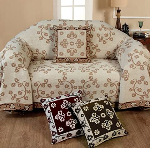 Chenille Floral Throw 3 Seater Chocolate Sofa Settee Chair Throw Decorative Chic Soft Stylish