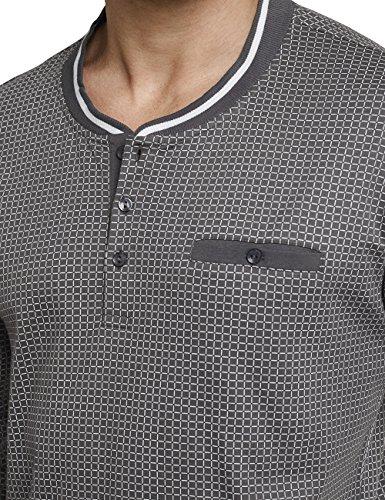 Schiesser Herren Zweiteiliger Schlafanzug Anzug Lang M. Knopfleiste Grau (Dunkelgrau 205)