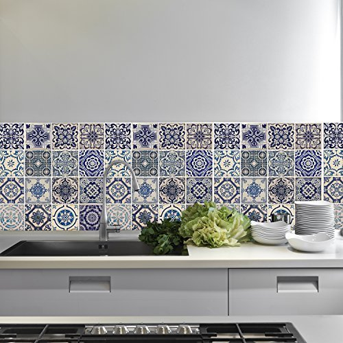 Wallflexi Pared Pegatinas Español Azul Azulejos Adhesivo extraíble de Pared Arte murales...