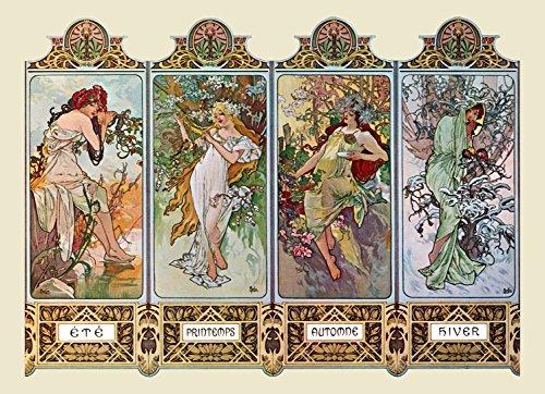 """Kunstdruck, Alfons Mucha, Jugendstil, """"Vier Jahreszeiten"""", 40 x 28 cm"""