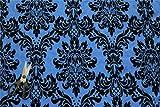 BLUE VICTORIA FLORAL TAFFETA DAMASK VELVET FLOCK SOFT VELVET FAUX SILK IDEAL 4 CUSHIONS CURTAINS SOFAS UPHOLSTERY CURTAIN FABRIC MATERIAL
