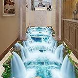 Leegt 3D Tapete Wallpaper Mural Cliff Tal Wasserfall Bad Wc Wohnzimmer 3D-Bodenbeläge Fußboden Wasserdicht Wandbild Tapeten Wandbespannung 350cmX300cm