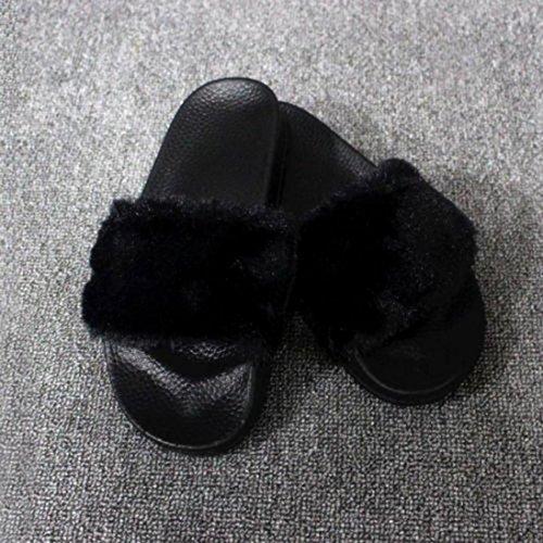 Amlaiworld Donna soffice pelliccia finta pantofola piatta,confortevole e morbido nero