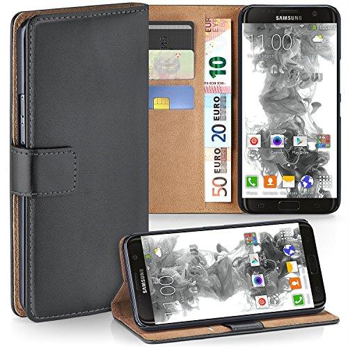 MoEx Samsung Galaxy S7 Edge Hülle Dunkel-Grau mit Karten-Fach [OneFlow 360° Book Klapp-Hülle] Handytasche Kunst-Leder Handyhülle für Samsung Galaxy S7 Edge Case Flip Cover Schutzhülle Tasche