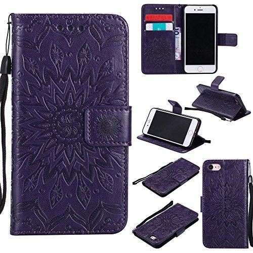 Pour Apple IPhone 7 Case, Embossing Sunflower Magnetic Pattern Premium Soft PU Leather Wallet Stand Housse avec lanière et porte-cartes et embouts de cartes ( Color : Brown ) Purple