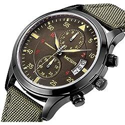 tarshow Herren Pilot Chronograph Nylon Strap Quarz Wrist Uhren Armee Grün