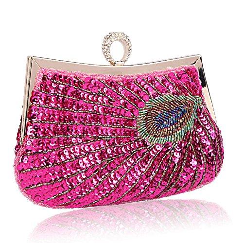 Borsa Da Sera Delle Signore Pavone Antico Perline Paillettes Cena Festa Di Nozze Borse. 23 X 18 Cm Di Rosa