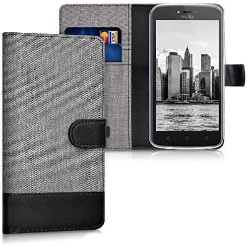 kwmobile Motorola Moto C Hülle - Kunstleder Wallet Case für Motorola Moto C mit Kartenfächern und Stand